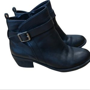 Vince Camuto Black Leather Beamer Boots w/ Buckle